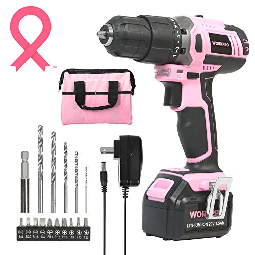 WORKPRO Pink Cordless 20V Lithium-ion Drill Driver...