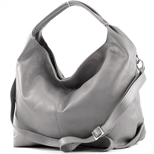 modamoda de - DS26 - ital Damenhandtasche aus Nappaleder, Farbe:Grau