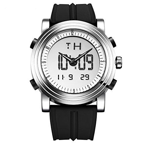 Sinobi Analog – Digital Herren Sportuhr Quarz Elektronische Uhr mit Alarm Stoppuhr LED Hintergrundbeleuchtung und schwarzem Gummiband (Silver case&Black Band)