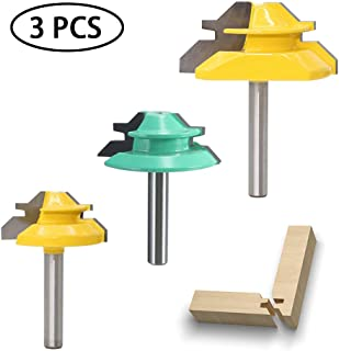 Wolfride 45 Degree Lock Miter Router Bit Set 1/4 Inch Shank 45 Degree Miter Joint Router Bits (3PCS)