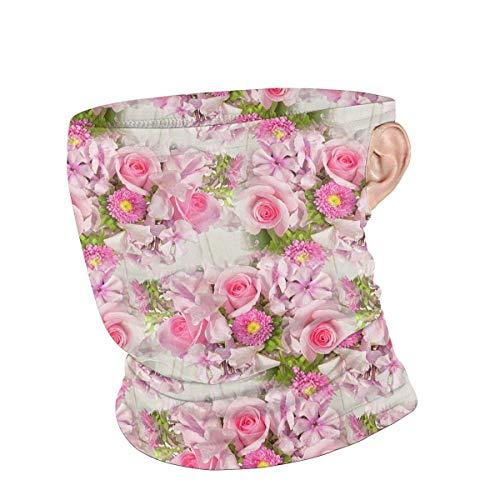 Lawenp Scaldacollo Unisex Rosa Bouquet Riutilizzabile Viso Collo Estate Bandane traspiranti