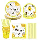 NAL Bee Theme Party Supplies Bee Birthday Tableware Set with Paper Plates Bee Cups Napkins for Kids Birthday Baby Shower Party Decorations Serves 8