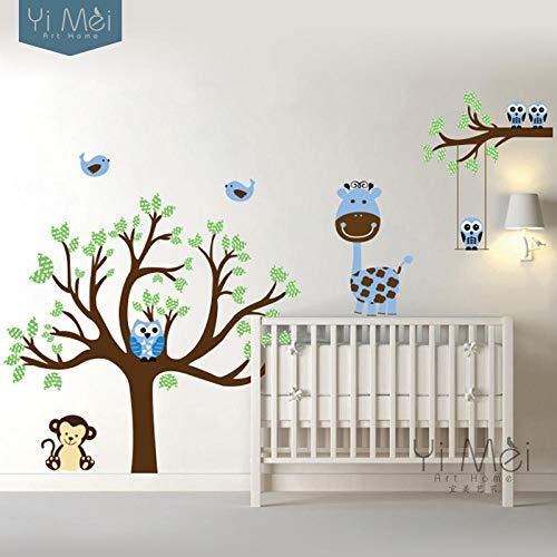 Muursticker cartoon uilen aap giraf boom vogel muursticker behang kinderkamer vinyl dagverzorging baby kinderkamer huishoudtextiel 160x180cm-bruin lichtblauw cooldeer