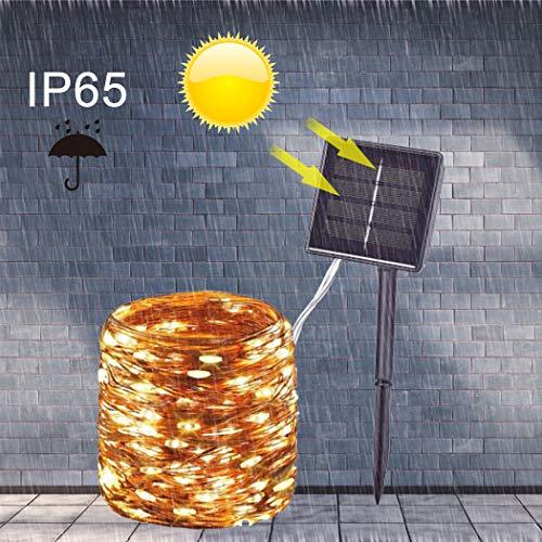 HJB Solar Fairy String Lights 200LED 22M, 8 Modes Indoor/Outdoor Garden Copper String Lights, for Indoor Bedroom Patio Outdoor Garden Decorations(Warm White)