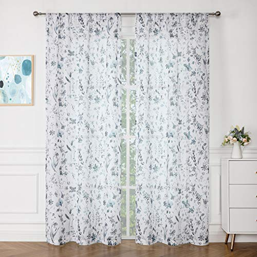 """Fragrantex Watercolor Flower Sheer Curtains Blue and Gray 84 Inch Long for Living Room Botanical Print Faux Linen Textured Fabric Denim Blue Window Panels Bedroom/Dining Room Rod Pocket 40"""" W x 84"""" L"""