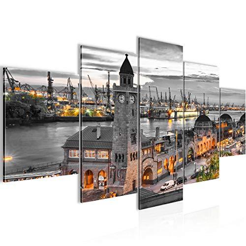 Runa Art - Bilder Hamburg 200 x 100 cm 5 Teilig XXL Wanddekoration Design Grau 6030b