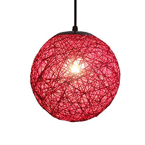 Handgemaakte rotan bal hanglamp tinten Globe bamboe kroonluchter lampenkap E27 rieten Hangend Plafondlamp voor Keuken Slaapkamer Badkamer Binnen Woonkamer Decor (Red)