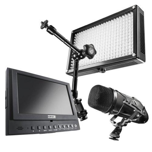 Walimex Pro Professional Video Zubehör Set inkl. LED Leuchte Bi-Color 312, Richtmikrofon Director I, LCD Monitor Cineast I 12,7cm und Gelenkarme