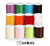 ABSOFINE 12 Rouleaux Cordon de Cirée Coton Fil Tressé pour Bijoux Bracelet Brésilien Perles Shamballa