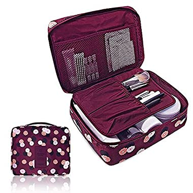 Cherry Roll Clear Cosmetic Makeup Bag Toiletry Travel Kit Organizer (flower printing wine red)