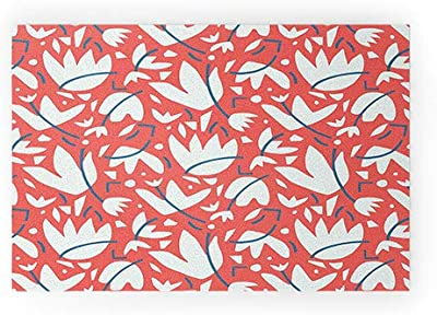 """Society6 Studio Maluda Cut Out Floral Welcome Mat, 30"""" x 20"""", Red"""