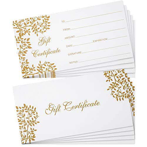 50 Pieces Blank Gift Certificate Cards Gift Certificate Vouchers, 3.5 x 7 Inch Coupon Cards for Business, Beauty Salon, Restaurant, Wedding Bridal, Christmas, Birthday