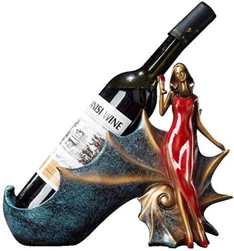 Bedom wallpaper Estantes de Vino de Mesa de una Sola Botella Decorativos de carácter Minimalista hogar Cocina Accesorios de Almacenamiento Muebles Soporte de Vino-Rojo