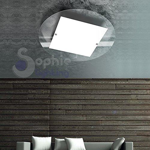 Plafonnier lampe lustre plafond ronde Ø45 cm moderne design verre satiné blanc transparent Chrome salon cuisine Entrée Round PL45 Sophie Lighting