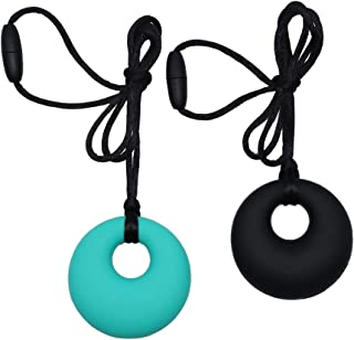 Sensory Chew Necklace for Boys Girls Adults, 2 Pack Silicone Chewy Pendant Jewelry for Autism, ADHD, Baby Nursing or Special Needs Kid, Reduce Chewing Biting Fidgeting for Chewer (Turquoise&Black)