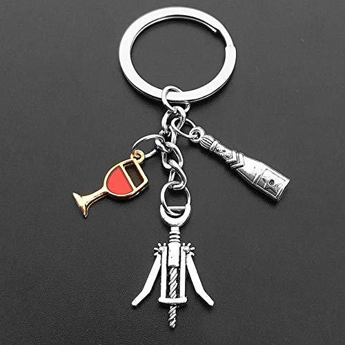 YANGQIANG 1 Schlüsselbund Geschenk Wein Korkenzieher Anhänger Wein und Traubenflasche Schlüsselbund