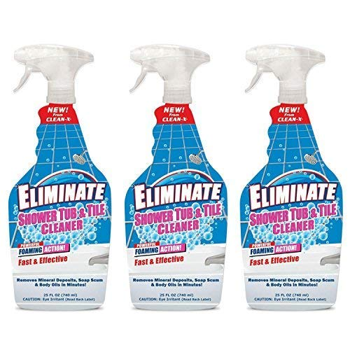 Eliminate Shower Tub & Tile Cleaner- 25 fl oz. - Shower Cleaner. Powerful Cleaner removes soap scum and Hard Water Minerals by UNELKO- Clean-X Invisible Shield (3)