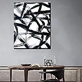 NIMCG Color Blanco y Negro Imágenes de Arte Impresión Abstracta sobre Lienzo Artículos para el hogar Arte de la Pared Pinturas para Sala de Estar 50x70CM (Sin Marco)