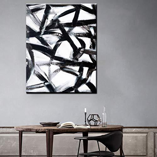NIMCG Schwarz Und Weiß Farbe Kunst Bilder Abstrakte Druck Auf Leinwand Haushaltswaren Wandkunst Gemälde Für Wohnzimmer 30x45 cm (kein Rahmen)