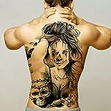 Handaxian 2 Piezas Etiqueta engomada del Tatuaje de Espalda Completa Etiqueta engomada del Tatuaje de los Hombres león dragón Cuerpo Pintado Tatuaje de Transferencia Impermeable