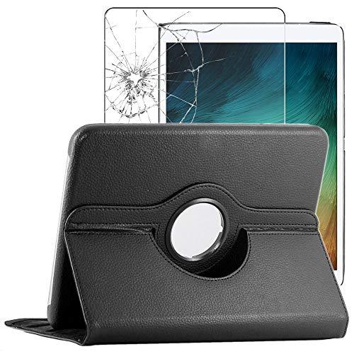 ebestStar - Funda Compatible con Samsung Galaxy Tab S7+ SM-T970 Carcasa Cuero PU, Giratoria 360 Grados, Función de Soporte, Negro + Cristal Templado Pantalla [Tab S7+: 285 x 185 x 5.7 mm, 12.4'']