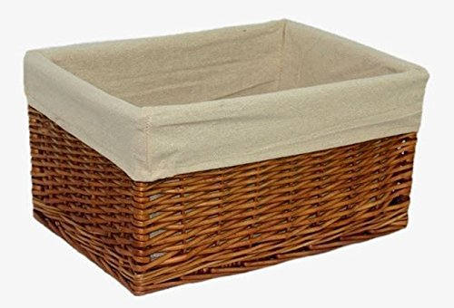 Red Hamper Medium Lined Double Steamed Storage Wicker Willow Basket