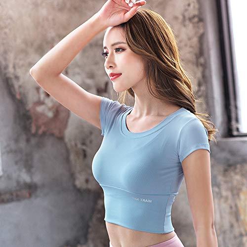 Señorita Vientre Lumbar Manga Corta Camiseta Deportiva, Elasticidad Delgado Hueco Yoga Manga Corta