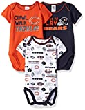 NFL Chicago Bears 3 Pack Short Sleeve Bodysuit, blue/orange/white Chicago Bears, 3-6 Months (137453160BEA06M-412)