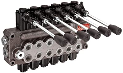 Prince MB61BBBBBB5C1 Directional Control Valve, Monoblock, Cast Iron, 6 Spool, 4 Ways, 3 Positions, Single Acting Cylinder Spool, Spring Center, Straight Handle, 3500 psi, 8 gpm, In/Out: #8 SAE, Work #8 SAE from Prince Manufacturing