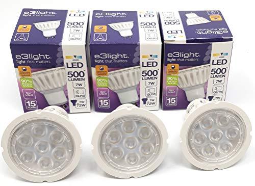 e3Light - Bombillas LED GU10 de repuesto para lámparas halógenas (3 unidades, intensidad regulable, 7 W, 72 W, 6500 K, 500 lúmenes, 90% de ahorro de energía)