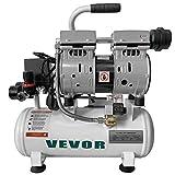 VEVOR Compressore d'Aria Senza Olio Ultra Silenzioso da 2 Galloni, Compressore Silenziato, Compressore d'Aria 550 W, Rumorosità meno 48 dB, Compressore d'aria Portatile Senza Olio