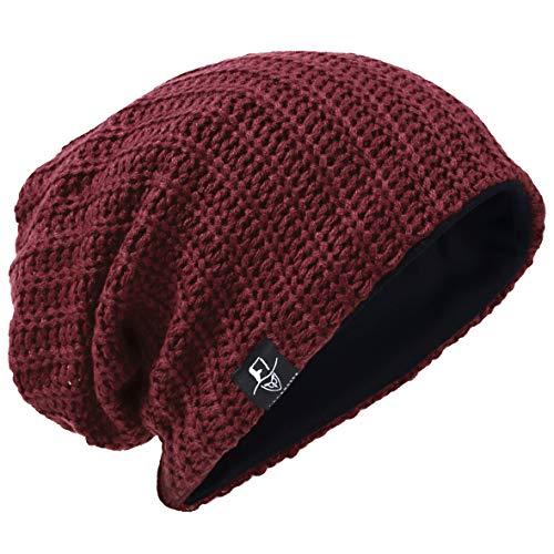 Hombre Gorro de Punto Slouch Beanie Knit Invierno Verano Hat (Acanalado Burdeos)