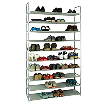 KIKIONLIFE Grey 5 8 10 Tiers Shoe Rack 25 40 50 Pairs Non-Woven Fabric Shoe Tower Storage Organizer Cabinet  10 Tiers