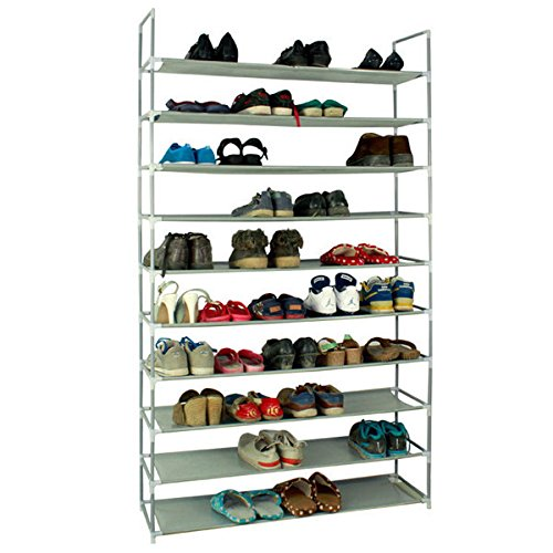 KAAYEE 10 Tiers Shoe Rack Storage Organizer Shelves 50 Pairs Stackable Shoes Racks (39.37 x 11 x 70.87) Non-Woven Fabrics & Steel with Handle (Gray)