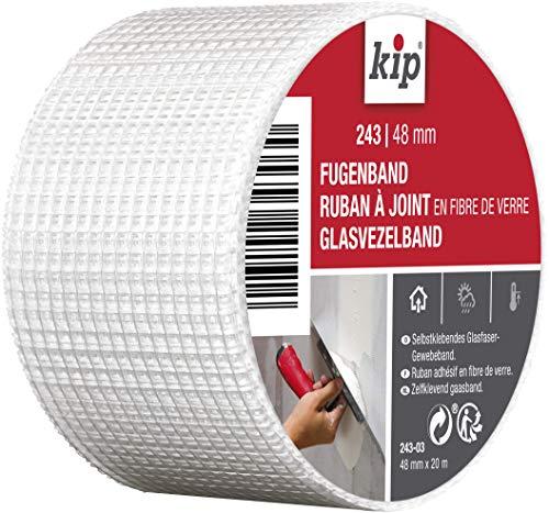 Kip – Ruban à joint en fibre de verre 243-03 – Bande adhésive idéale pour létanchéité des joints et des trous – Dimensions : 48mm x 20m – Couleur blanc