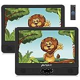 """Pumpkin 12"""" DVD Portátil Coche 2 Pantallas, Reproductor para Reposacabezas de Coche para Niños en Viaje soporta USB/ SD/ CD, Región Libre, con Control Remoto"""