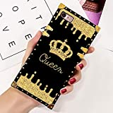 iPhone 7, iPhone 8 Case Queen Golden Crown Luxury Square Soft TPU Wrapped Edges and Hard PC Back Stylish Classic Retro Case