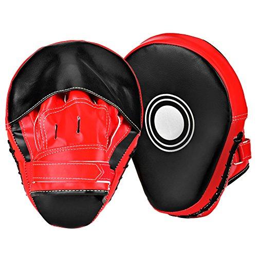 Queta Bärentatzen Taekwondo Boxhandschuhe Paos Boxkampf Sport Gebogene Schildpolster Kickboxen MMA Stanzhandschuhe (Rot-Schwarz)