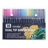 24 colores rotuladores de arte bolígrafos de doble punta para pinceles de acuarela dibujo pintura colorante manga útiles escolares