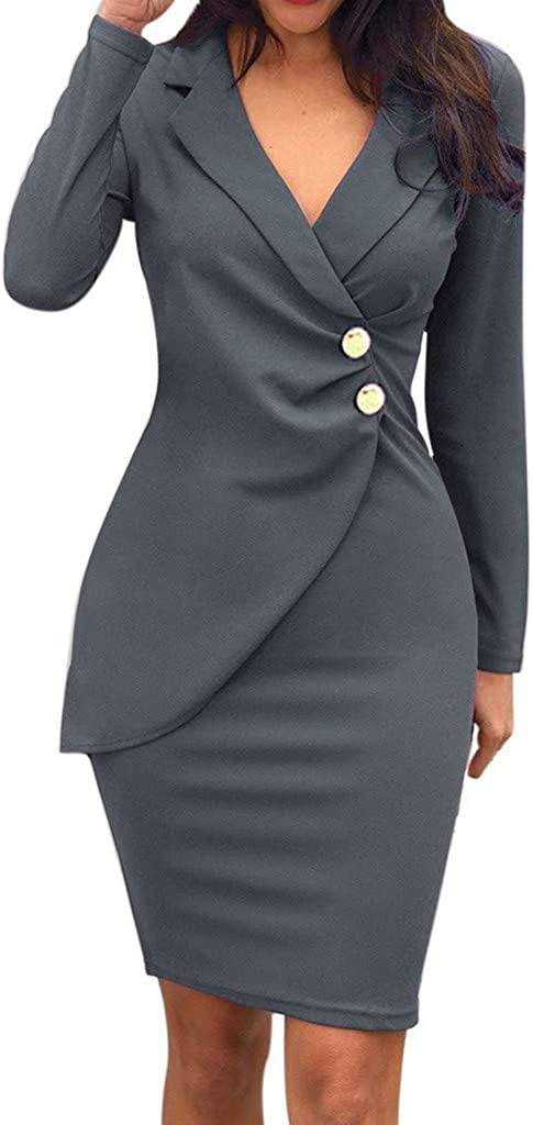 iQKA Women Sexy Solid Color Bodycon Dresses Turndown Neck Long Sleeve Buttons Casual Work Formal Dress Vestido