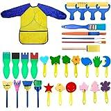 NATUCE Bambini Apprendimento Precoce Spugna Kit di pennelli per Pittura, 31 Pezzi Spugne da Pittura per Bambini, Include Impermeabile Grembiule e Strumento di Pittura Lavabile