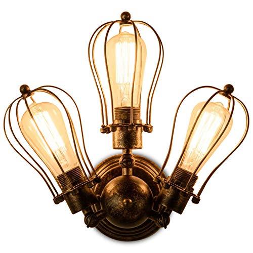 Wandlampe Vintage 3-Lichter industrial lampe, FeelGlad E27 Wandleuchte im Industrial Design schwenkbar für Schlafzimmer Wohnzimmer Veranda Korridor (No Bulb)
