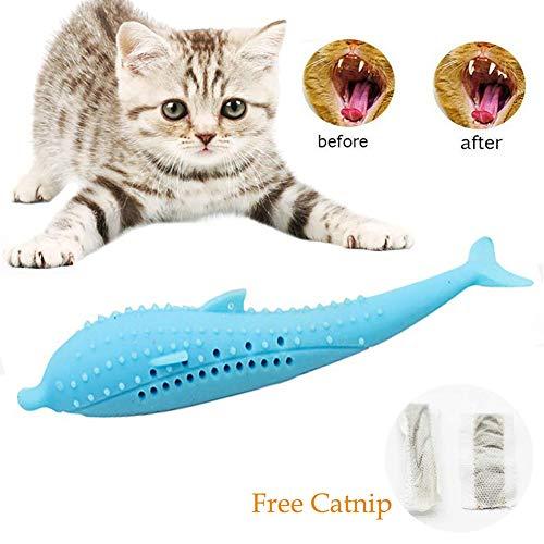 Interactieve kat tandenborstel zelf reinigen tandheelkundige Molar Stick met Catnip tandenborstels siliconen vis gevormde kat tandenborstel tandenpoetsen speelgoed met Catnip huisdier speelgoed, geen behoefte kat tandpasta, Blauw