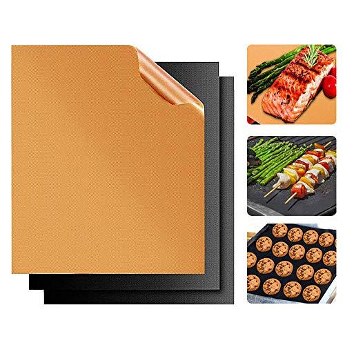 HKBTCH BBQ Grillmatte, Antihaft Grillmatten, 3er Set Backpapier wiederverwendbar, FDA Zugelassen Backmatten Dauerbackfolie für Gasgrill und Holzkohle, 40 x 33 cm