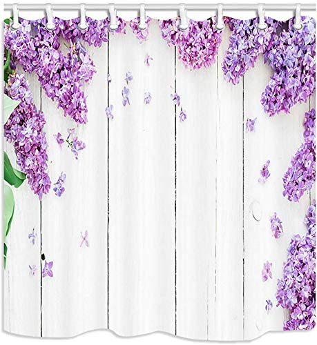 vrupi Lila Flieder & Blütenblätter Frühlingsblumenbadezimmer-Duschvorhangs weißem wasserdichtem Polyester-Gewebe des Holzbrettes 71x71inch einschließlich zwölf Plastikhaken-Schlafzimmerdekoration