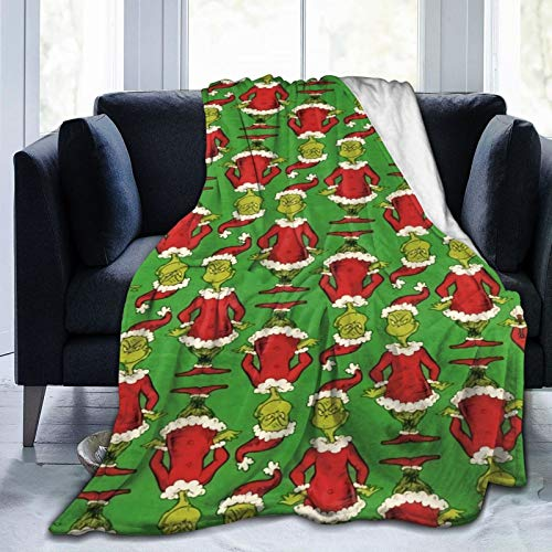 """YES I DO The Grinch Fleece Blanket Ultra-Soft Micro for Couch Or Bed Warm Throw Blanket All Season Sofa Blanket (50"""" x40) Small for Kids"""