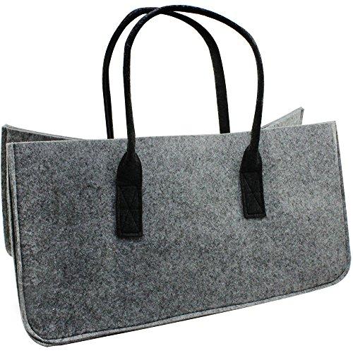 com-four® Filz-Tasche XL für den Einkauf, Zeitungsständer, Spielzeug oder Picknick am Strand, robust aus dickem Filz, perfekte Kaminholztasche für Brennholz 52 x 26 cm (01 Stück - Tasche hellgrau)