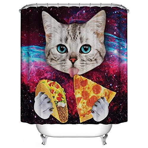 JMAHM Pfau Duschvorhang Wasserdicht Mildewproof Polyester Duschvorhang Set Bad Zubehör (180x180, Bunte - Pizza)