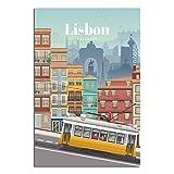 Lissabon Portugal Vintage-Reise-Poster auf Leinwand,