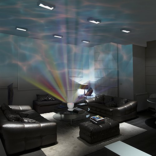 Soothing & Relaxing Ocean Wave Projector LED Night Light with Built-in Stereo Speakers / (12 LED Bulbs - 8 Colors)